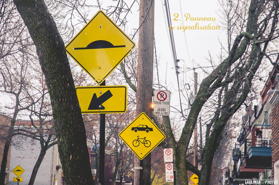 ten on ten - montréal, rue, ruelle, novembre, panneau de signalisation, jaune