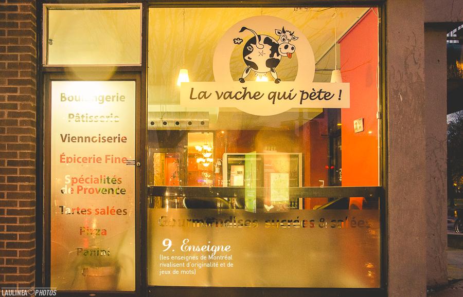 ten on ten - montréal, rue, ruelle, novembre, la vache qui pète, restaurant, snack, enseigne, logo