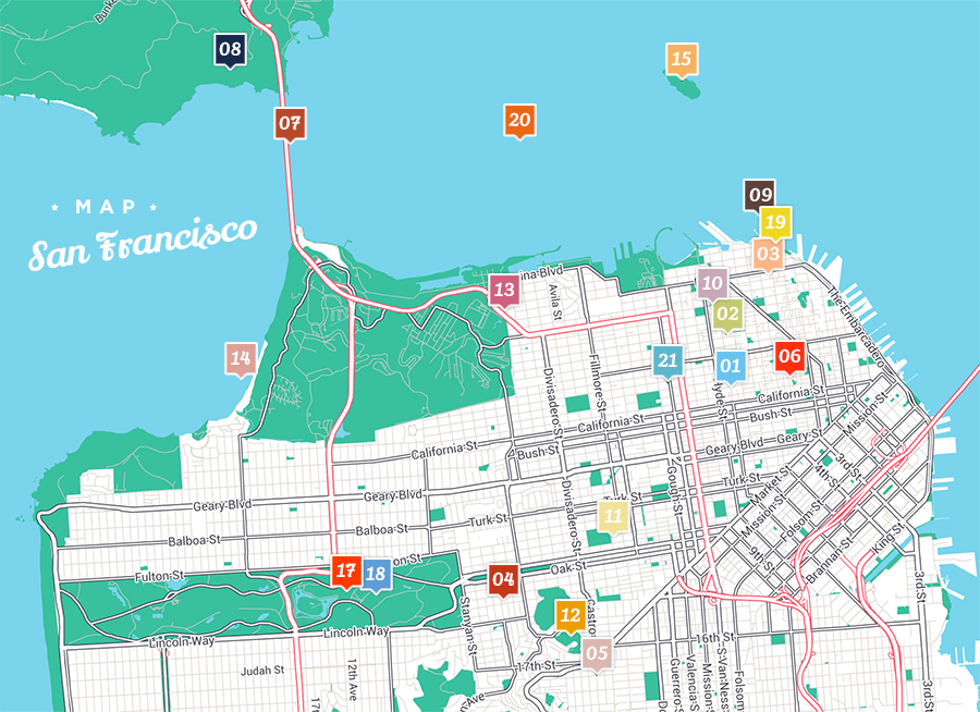 carte, map, san francisco, usa, voyage, point d'intérêt