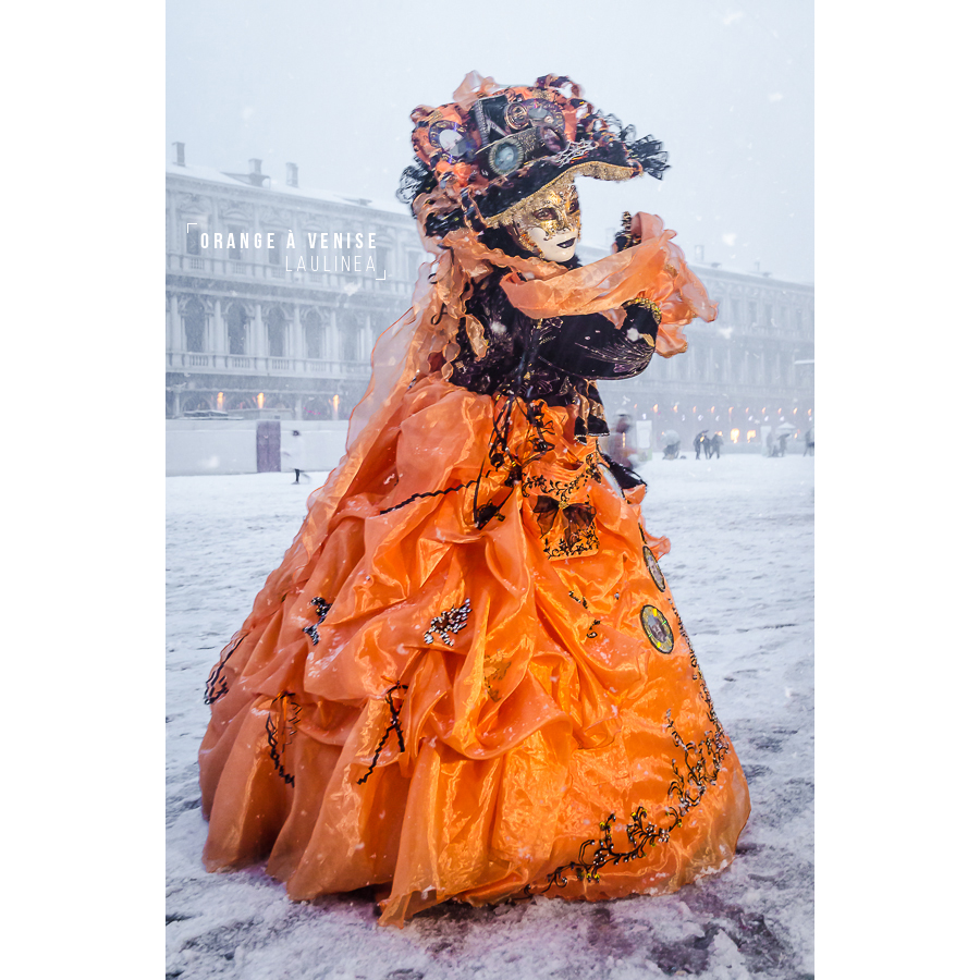 venise, orange, carnaval, déguisement