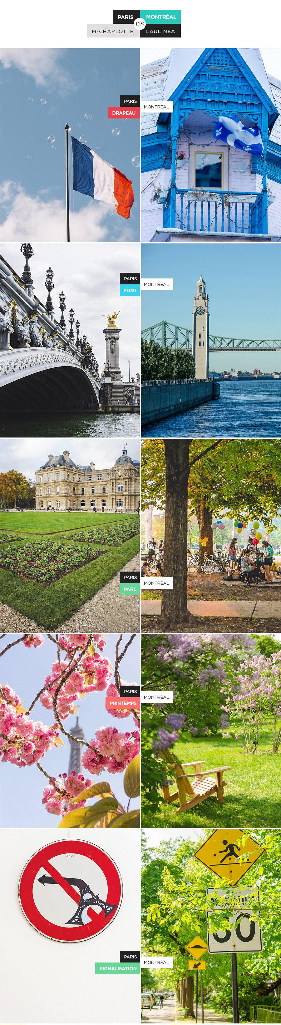 22 thèmes abordés par une parisienne et une française expatriée à Montréal : l'hiver, le printemps, la mode, le métro, les ruelles, la signalisation et d'autres ! #parisVSmontréal, comparaison, canada, france, amerique, europe