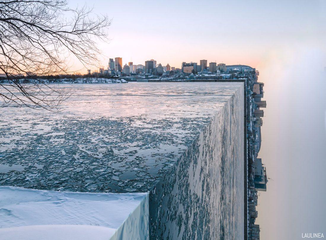 montreal en perspective, city, canada, québec, hiver, surréalisme