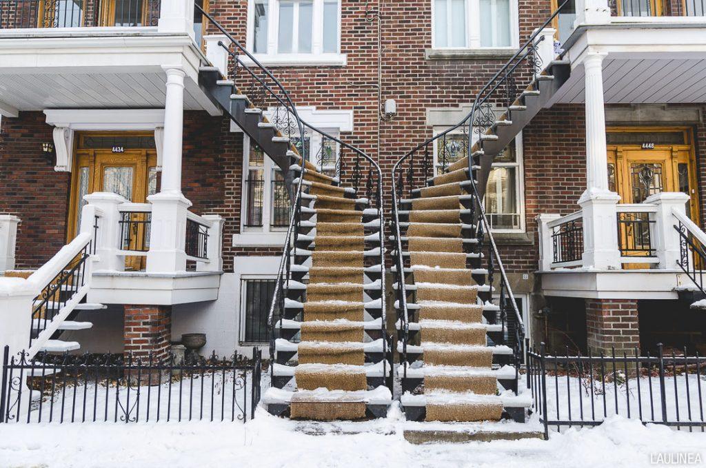 canada, montréal, architecture, escaliers