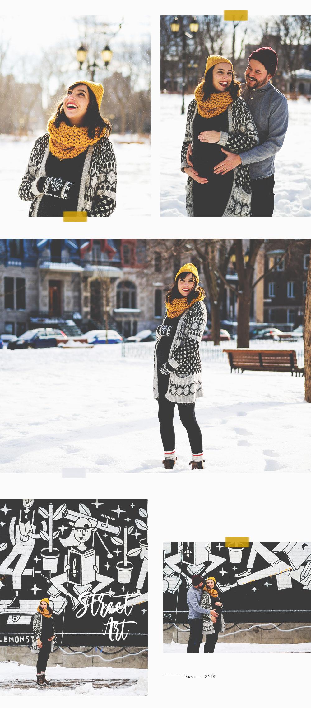 Séance photo grossesse en plein hiver, sous la neige et le soleil au coeur de Montréal, au Carré Saint-Louis, Plateau Mont-Royal. #maternityshooting #pregnancy #shootingphoto