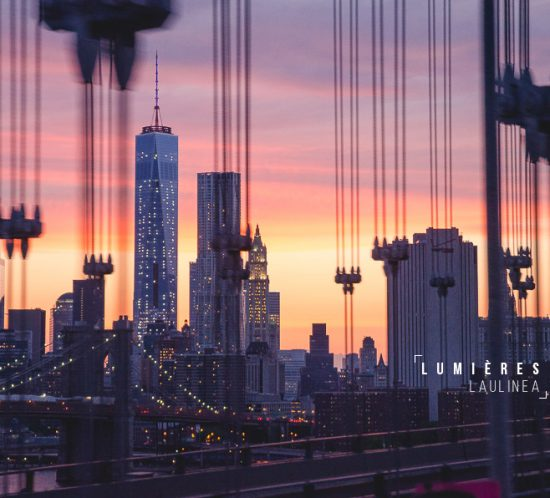 photo du mois, coucher de soleil, new york, brooklyn bridge, skyline nyc